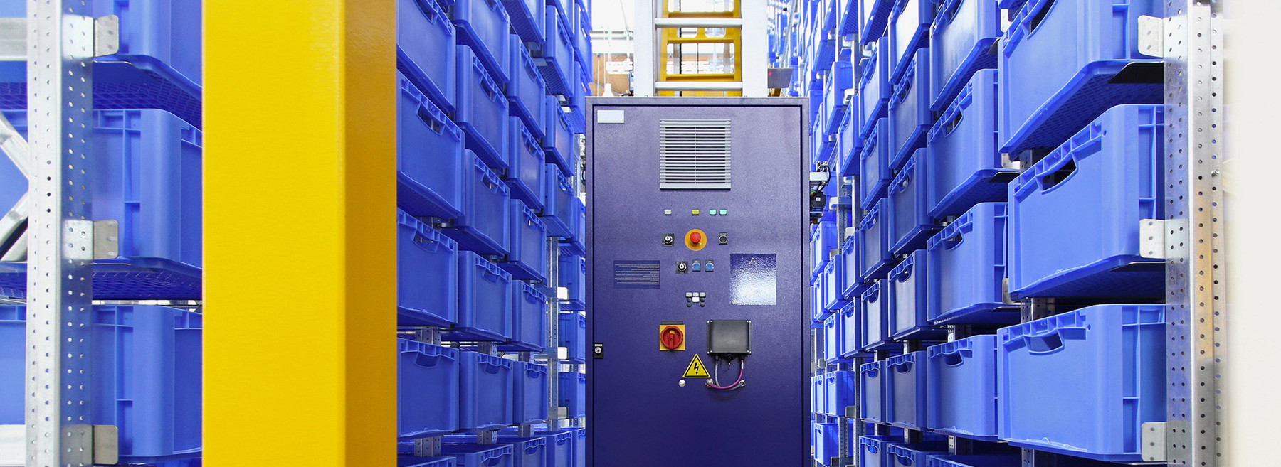 The cover picture shows blue boxes in an automated small parts warehouse, which is controlled by the warehouse management system LFS.wms.